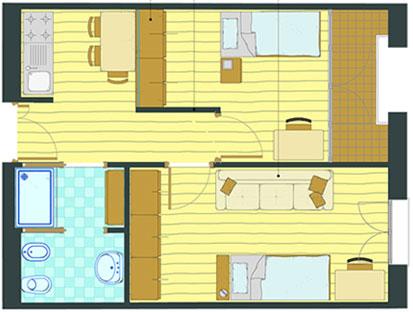 alloggi studenti parma: bilocale da 50 m2